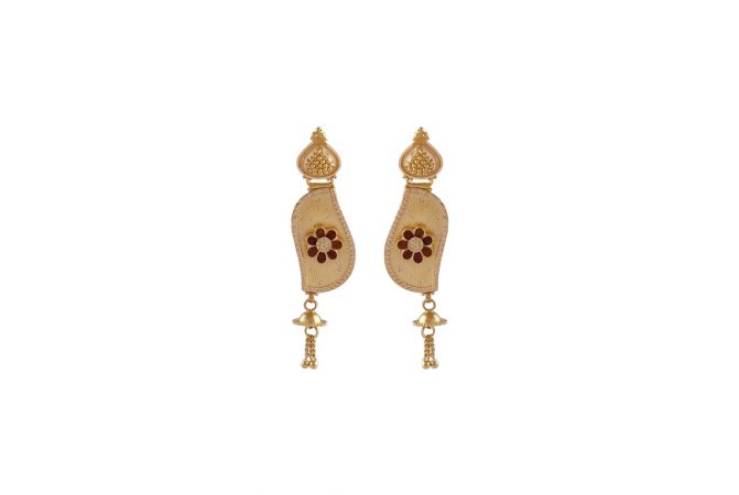 Matte Finish Enamel Floral Curved Leafy Design With Gold Ball Earrings -LT211182