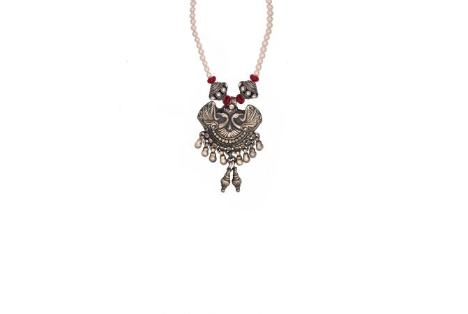 Antique Textured Peacock Gemstone Silver Necklace