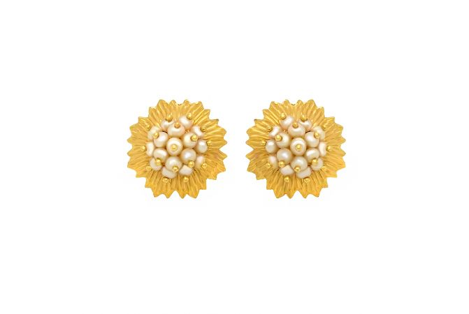 Bloom Synthetic Pearl Floral Gold Earrings