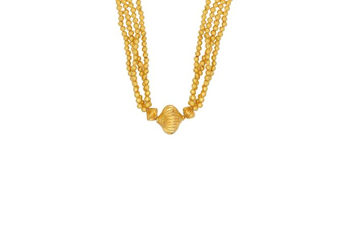 Ceremonial Textured Gold Beads Thushi Necklace