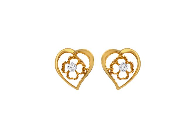 Delicate Floral Heart Single Stone Diamond Earrings