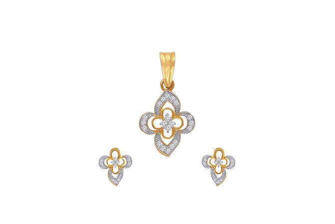 Bloom Floral Cluster Diamond Pendant Set
