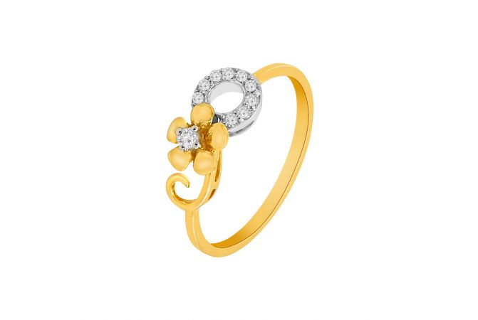 Elegant Curve Floral Diamond Ring