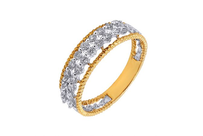 Sparkling Half Eternity Diamond Twist Gold Band