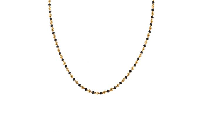 Eternity Black With Gold Beads Mangalsutra-MS-213251