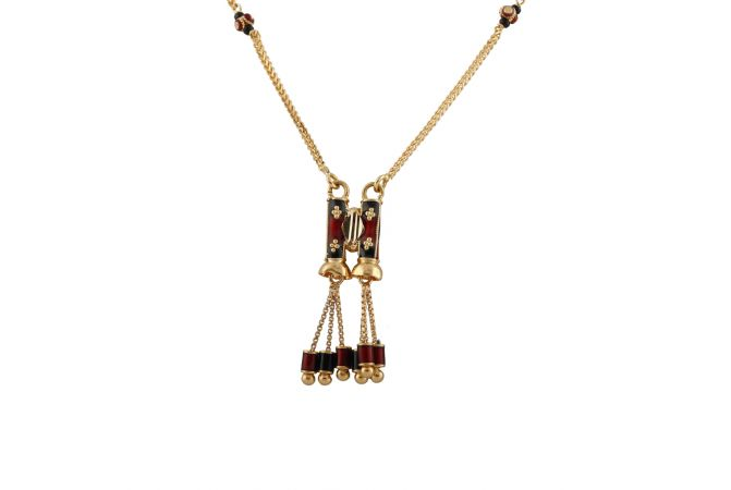 Glossy Finish Multicolour Enamel Drop Gold Ball Mangalsutra - MS1482