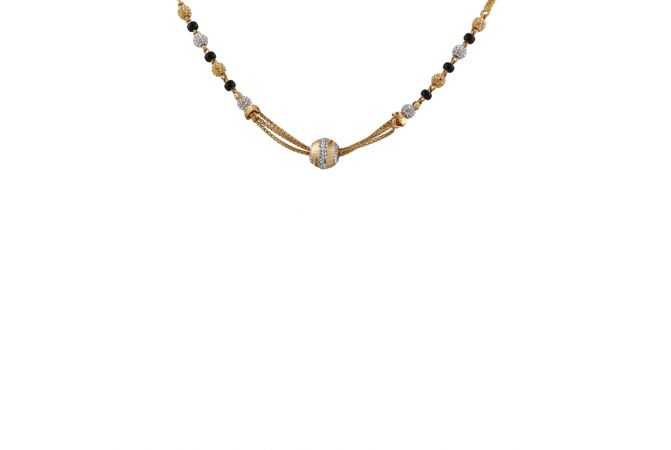 Glossy Diamond Cut Rhodhium Polish Gold Ball Mangalsutra - MS1487