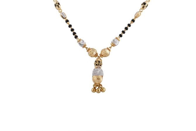 Glossy Diamond Cut Drop Gold Ball Mangalsutra - MS1497