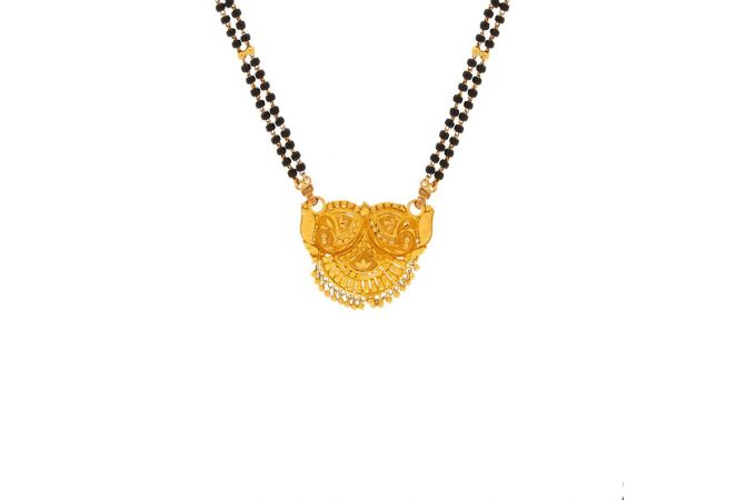 Peacock Feather Filigree Design Gold Tanmaniya With Two Layer Black Beads Mangalsutra