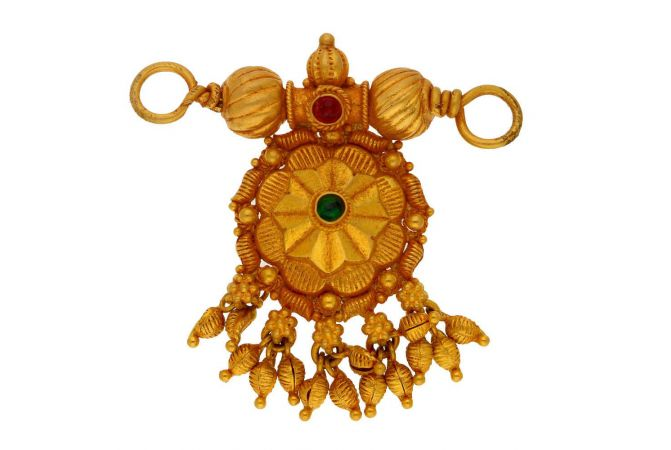 Gokak Floral Design Studded With Synthetic Colour Stone Drop Gold Tanmaniya-MS3-12616