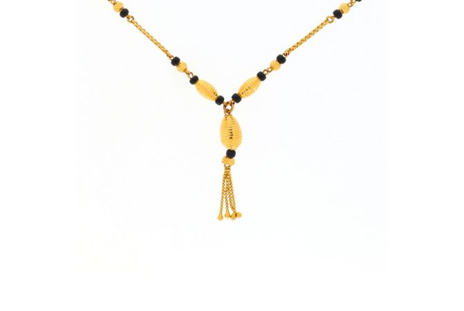 Glossy Finish Diamond Cut Drop Design Linked With Synthetic Black Beads Gold Mangalsutra