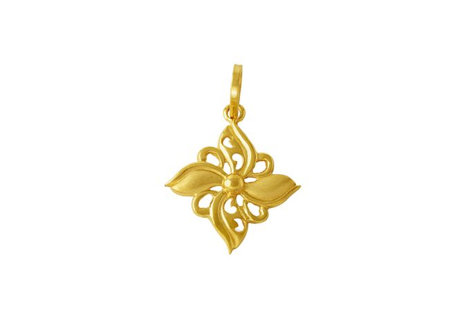 Glossy Finish Flower Design Gold Pendant