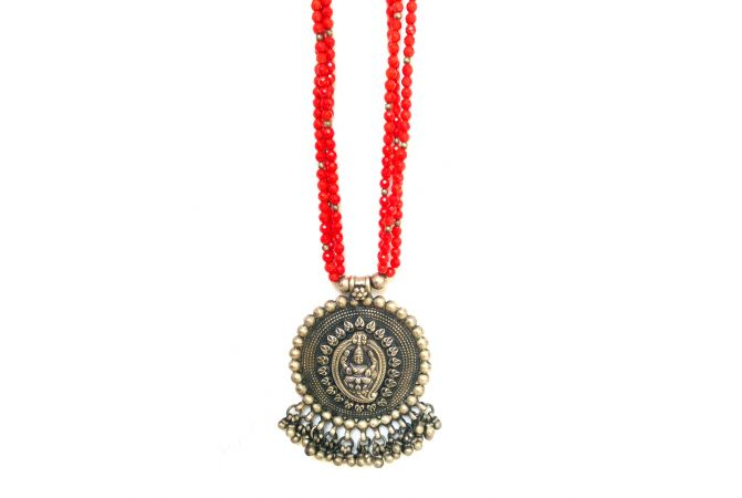 Temple Silver Pendant Natural Coral Strings