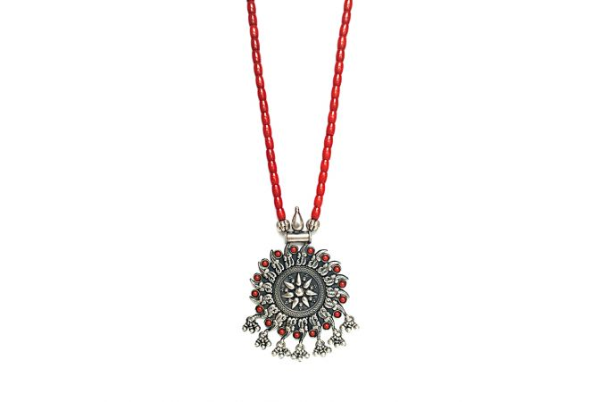 Natural Coral Studded Silver Pendant With Coral String