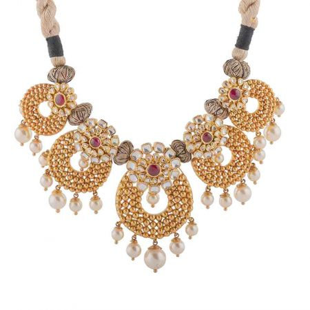 Glossy Finish Rajasthani Design Studded With Synthetic Red Stone Kundan Gold Necklace-NEC4598