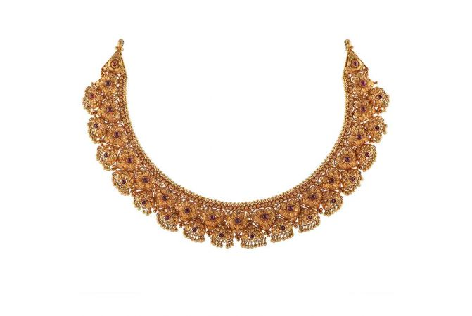 Antique Finish Heart Floral Design Studded With Synthetic Red Stone Drop Gold Ball Necklace-NEC483