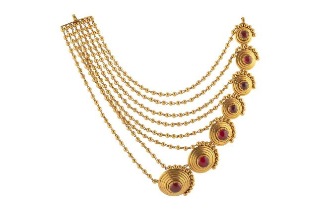 Antique Finish Multi Line Gold Ball Design Synthetic Red Stone Studded Designer Necklace-NEC754