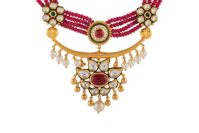 Antique Finish Floral Kundan Design With Synthetic Drop Pearl Gold Ball Necklace-NEC907
