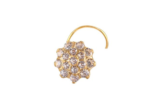18kt  Gold With CZ  Micropave Set Nose Pin -NJ3