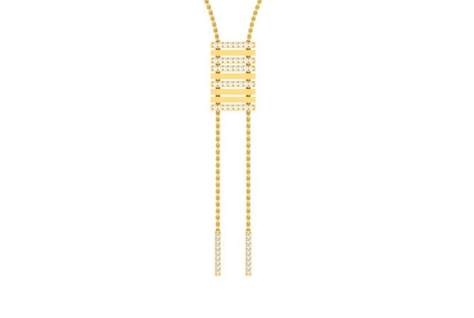 Glossy Dual Bar Diamond Drop Necklace