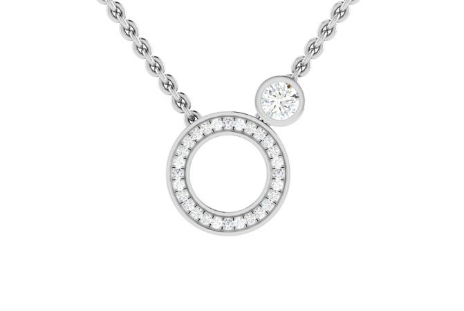 Sparkling Earth and Moon Design Diamond Necklace