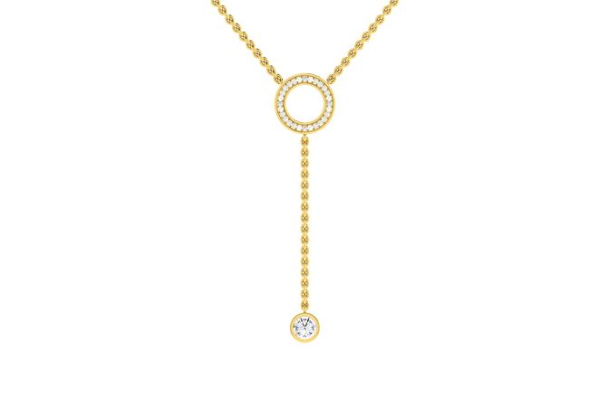 Sparkling Circle of Gems Design Diamond Necklace