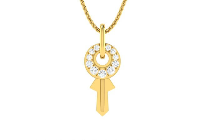 Glittering Fortune Key Design Diamond Pendant