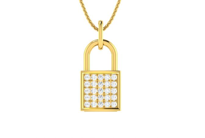Glittering Diamond Studded Lock Design Diamond Pendant
