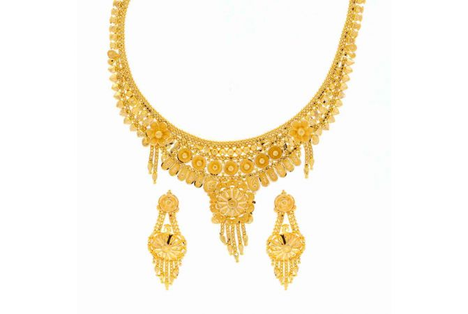 Mat Finish Floral Bead Traditional Design Gold Necklace Set