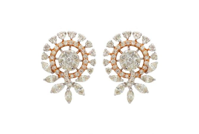 Sparkling Floral Design Two Tone Diamond Earrings