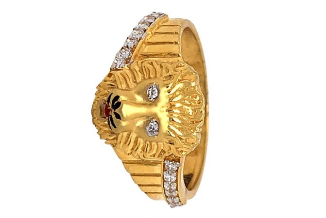 Glossy Finish Grooved Enamel Lion Face Design With CZ Studded Gold Ring