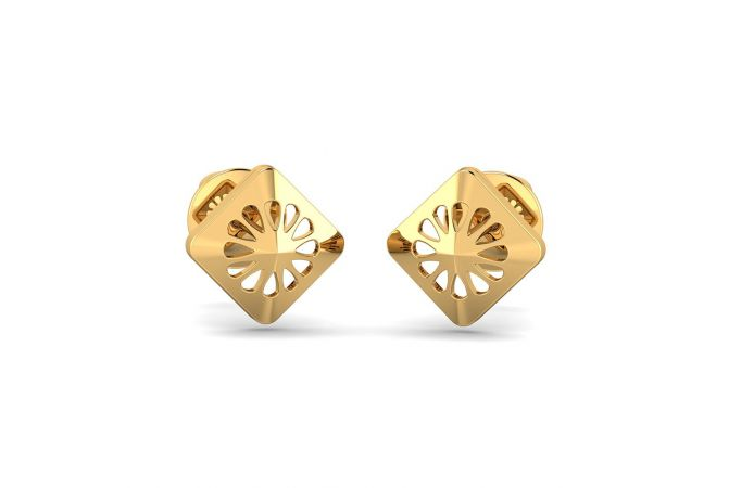 Glossy Finish Conoid Stud Gold Earrings