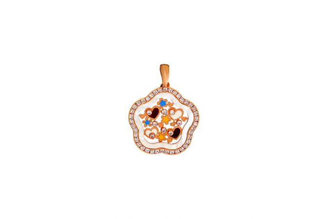 Stylish Charming Floral Heart Synthetic Mother Of Pearl CZ Pendant