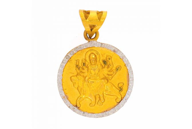 Glossy Matte Finish Rhodium Polish Lord Durga Gold Pendant