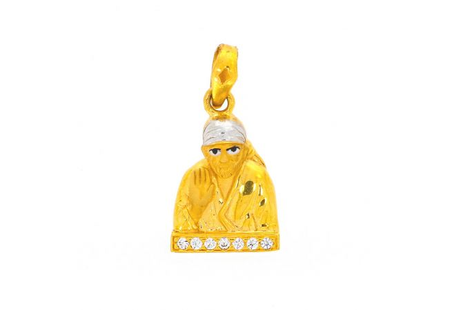 Glossy Finish Rhodium Polish Lord Sai Baba With Studded CZ Gold Pendant