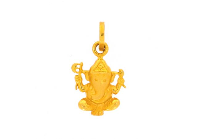 Glossy Matte Finish Lord Ganesha Gold Pendant