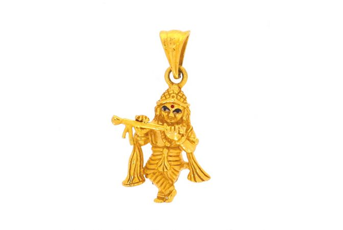 Glossy Finish Lord Krishna With Multicolour Enamel Gold Pendant