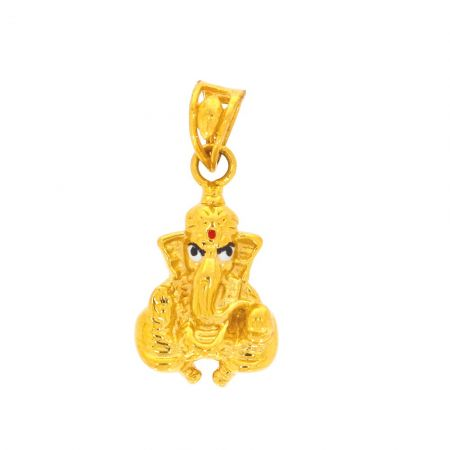 Glossy Finish Lord Ganesha With Multi Colour Enamel Gold Pendant