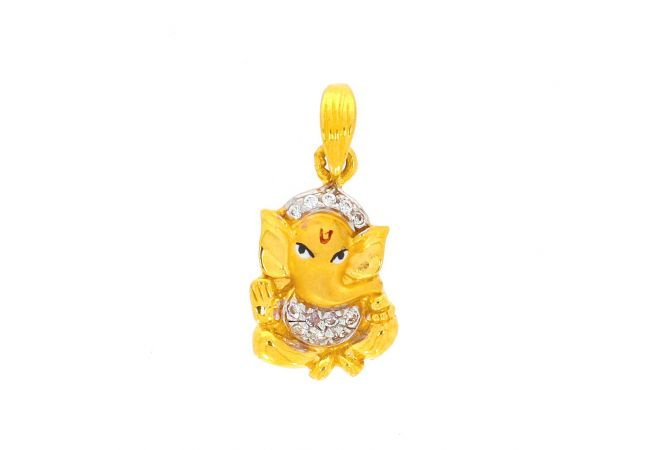 Glossy Matte Finish Lord Ganesha With Studded CZ Gold Pendant
