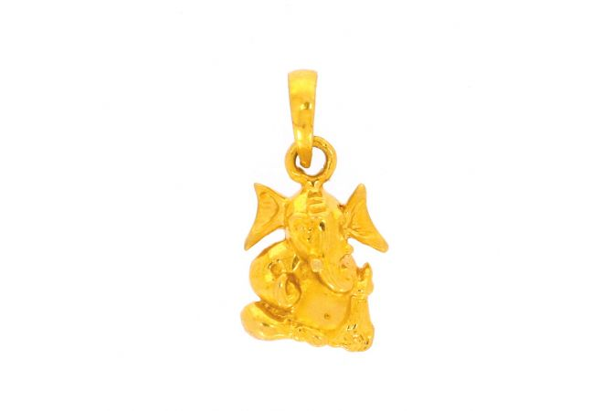 Glossy Finish Lord Ganesha Gold Pendant