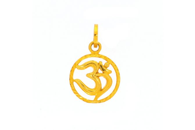 Glossy Finish Diamond Cut Om Round Gold Pendant