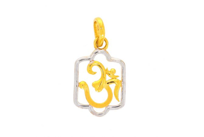 Glossy Finish Rhodium Polish Om Gold Pendant