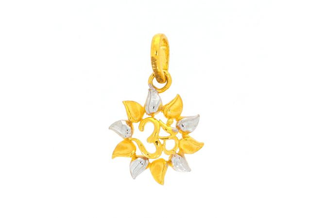 Glossy Finish Rhodium Polish Om Within Floral Design Gold Pendant