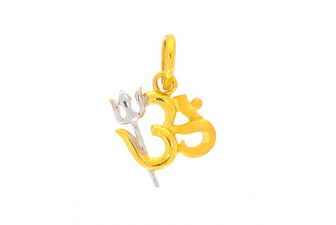 Glossy Finish Rhodium Polish Om With Trishul Gold Pendant