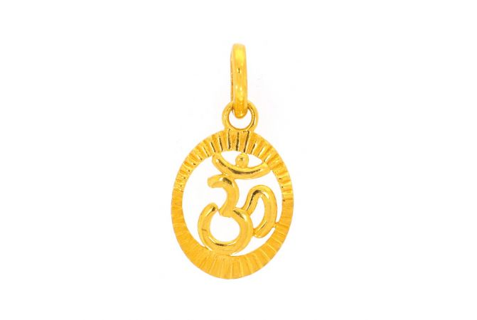 Sand Blast Glossy Finish Diamond Cut Om Round Gold Pendant