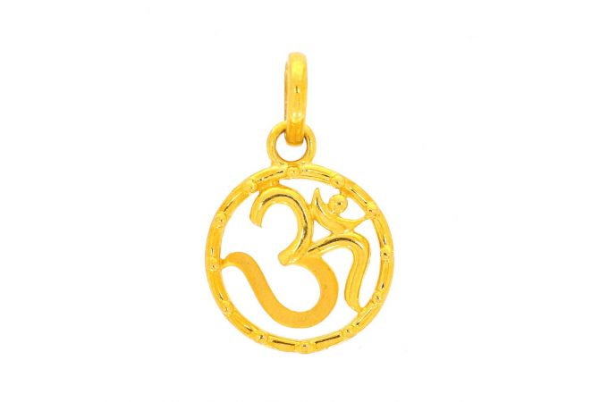 Glossy Finish Om In Circle Gold Pendant
