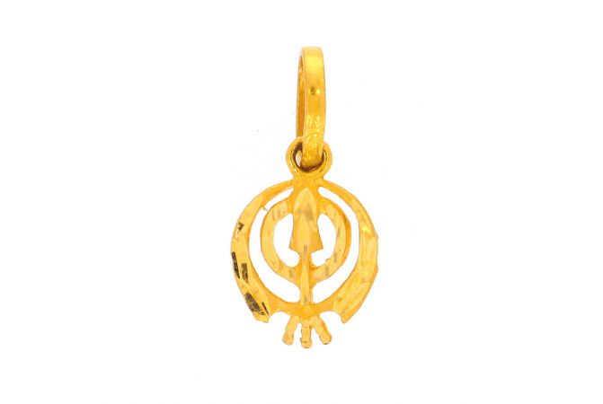 Glossy Finish Diamond Cut Khanda Gold Pendant