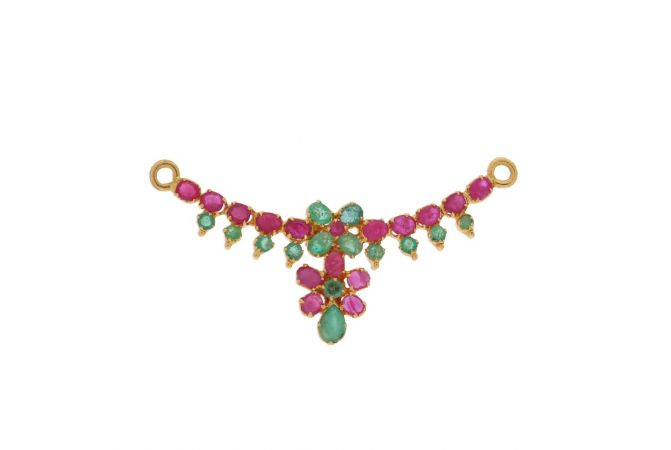 Elegant Floral Design Studded With Synthetic Emerald Ruby Gold Tanmaniya-PEN7681