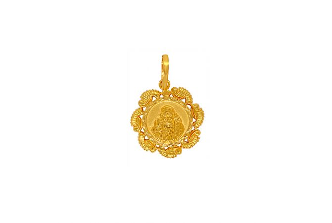 Classy Engraved Lord Sai Baba Gold Pendant