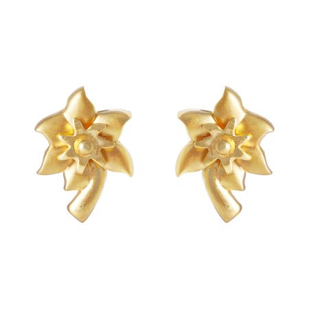 Glossy Finish Floral Gold Earring  - PGC00637